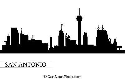 San antonio city skyline silhouette. San antonio usa city
