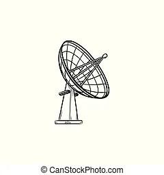 Radio telescope concept outline. vector rendering of 3d