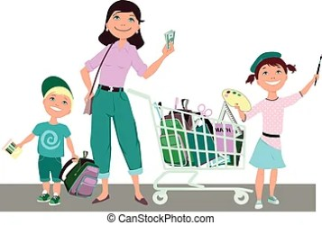 shopping cartoon cart children mother save boy vector clipart cute standing clip grocery money holding illustration supplies eps graphic renovation