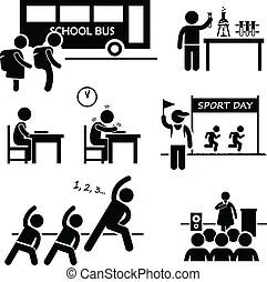 School student events icon. A set of pictograms