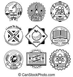 Logo scientific research, science logo icon set. science