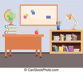 School study classroom cartoon vector illustration graphic design CanStock