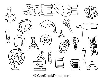 Physics and science elements doodles icons set. hand drawn