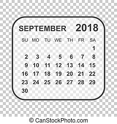 September 2018, illustration vector calendar or desk