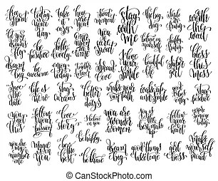 Mega set of 100 hand written lettering motivational quotes