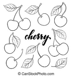 cartoon outline cherry lettering greeting holiday card seasonal tourism invitation holidays parties travel beach summer blueberry blueberries