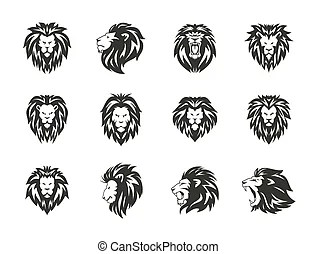 Black and white heraldic lions heads for emblem, heraldry