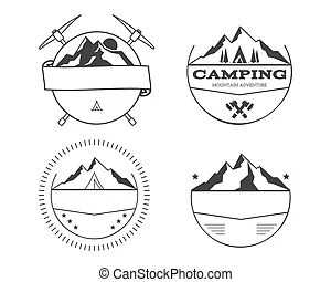 Vintage summer camp sticker badge emblem vector clipart