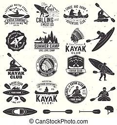Kayak and canoe emblems, badges, design elements. Kayak