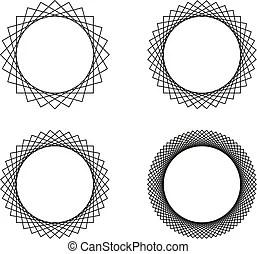 4 mandala stroke set. Vector set of 4 mandalas in stroke.