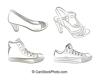 Men and women shoes silhouettes isolated on white