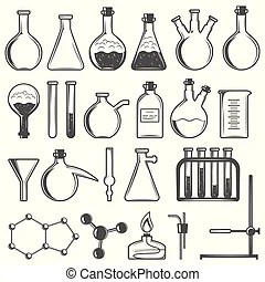 Chemical test tubes icons. Chemical test tube rack with