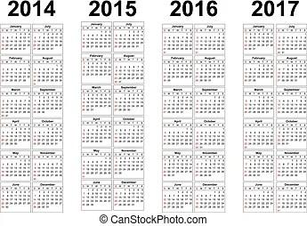 Russian 2014, 2015, 2016 year vector calendars. Simple