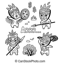 Coloring book page stone age cartoon characters.