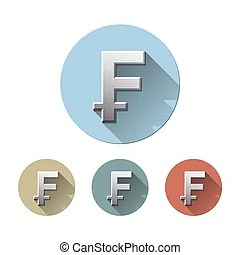 Swiss franc symbol isolated on white background. 3d render.