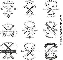Set of badge, labels or emblem elements for sawmill