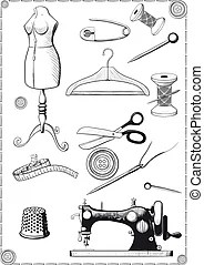 Sewing kit silhouette. The sewing kit is silhouetted