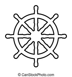 Label with steering wheel and anchor on white background.