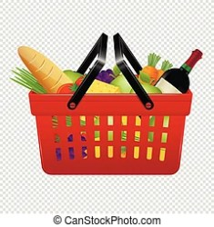 Shopping basket with foods and shopping list isolated on transparent background vector illustration CanStock