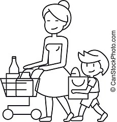 shopping son mother cart grocery line clip vector sign icon sitting illustration cartoon boy background thoughtful editable strokes