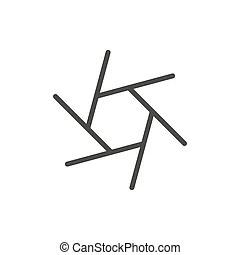 Camera lens shutter blades icon(symbol) outline- simple