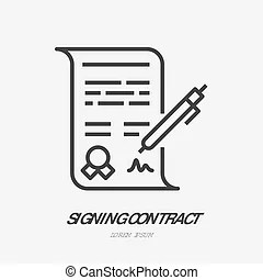 Manual pen signature for paper letter and document vector