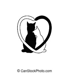 Download Heart shaped tails cat couple. Two cats with heart shaped ...