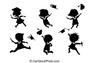 graduate cartoon student silhouettes excited happy college diploma classmates jumping jump holds vector education gown cap clip preview