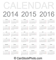 Illustration of a basic overview calendar 2014-2015-2016