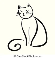 Simple black and white evil cat cartoon CanStock