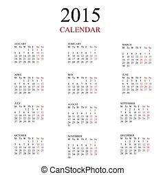 European 2014, 2015, 2016 year vector calendar. Simple