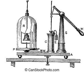 Pneumatic trough, vintage engraving. Pneumatic trough