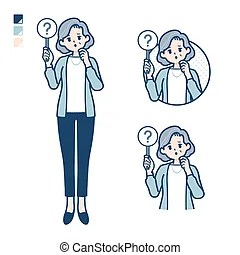 simple ambiguous senior question panel clip illustrations woman clipart drawings