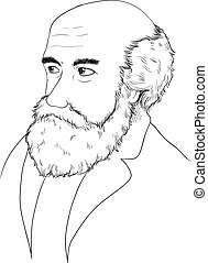 Charles darwin portrait. vector format, fully editable.