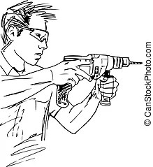 Manual worker Clip Art Vector and Illustration. 4,694