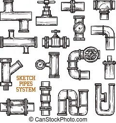 Plumbing objects sketch. Doodle style plumber or mechanic