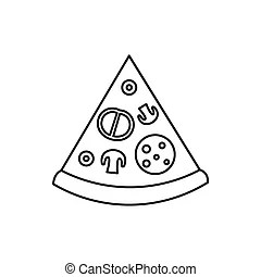 Outline of pizza slices. Outline cartoon of pizza slices