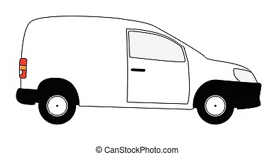 White delivery van. A typical american van or truck used
