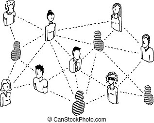 Complex computer network connecting diagram vector clipart