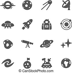 A vector illustration of cute astronomy icons vector clip