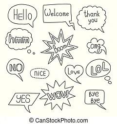 Slang words doodles. A variety of slang words and ebonics