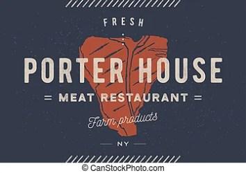 steak meat label text silhouette restaurant typography authentic porter template business emblem premium sign quality