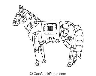 Trojan horse coloring book vector. Trojan horse coloring