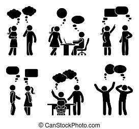 Stick figure business people speech bubble set. vector