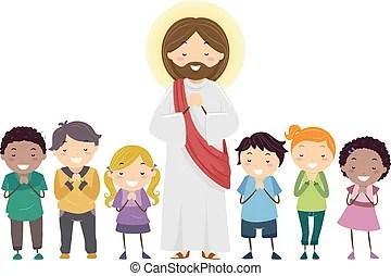 illustration of kids praying