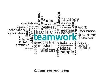 Illustration of english word teamwork on a white background.