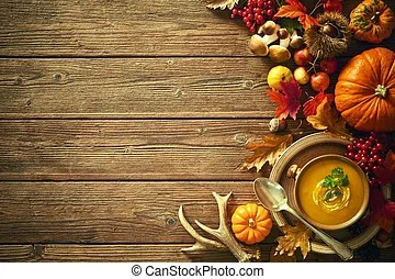 Fall Leaves Wallpaper Powerpoint Background Art Thanksgiving Background With Autumn Pumpkin On The