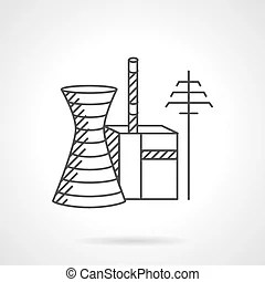 Smoking pipes of thermal power plant icon. Icon in