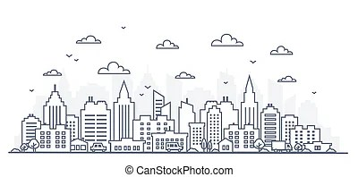 Outline sketch of cityscape urban setting with tall