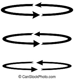 Three part arrow circles on white background.